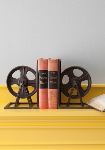 Film Industrial Bookends - Black, Vintage Inspired, Dorm Decor, Better, Press Placement