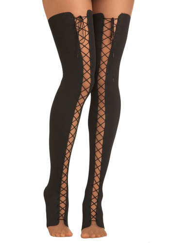 Lace Up and Away Tights - Black, Solid, Sheer, Pinup, Vintage Inspired, Top Rated