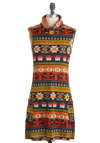 All Your Favorites Dress - Multi, Casual, Vintage Inspired, Rustic, Quirky, Sleeveless, Fall, Short, Multi, Pockets, Sweater Dress, Holiday Sale, Winter