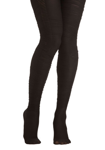 Festive Gathering Tights - Black, Solid, Ruching, Party, Statement
