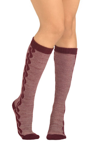 Head Over Helix Socks - Red, Tan / Cream, Print, Winter, Casual, Scholastic/Collegiate