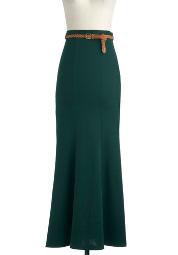 Fit and Artistic Flair Skirt - Green, Solid, Maxi, Belted, Long