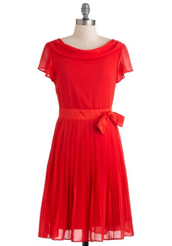 Bucolic Belle Dress - Red, Chiffon, Mid-length, Solid, Bows, Pleats, A-line, Short Sleeves, Boat, Exclusives, Prom, Party