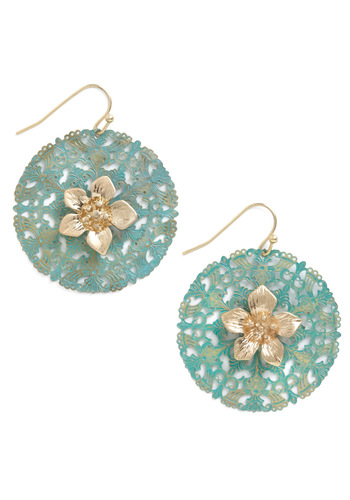 Drawing Room Bloom Earrings - Flower, Green, Gold