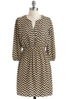 Brand New Zag Dress - Tan / Cream, Casual, A-line, 3/4 Sleeve, Fall, Black, Mid-length, Chevron