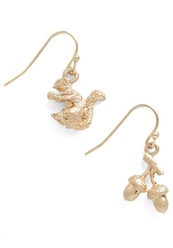 Bright and Bushy-Tailed Earrings - Gold, Print with Animals, Kawaii