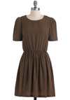 Seine and Heard Dress - Black, Stripes, Casual, A-line, Short Sleeves, Brown, Holiday Sale, Mid-length