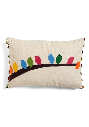 Flock of the Draw Bird Pillow by Karma Living - Dorm Decor, Cream, Multi, Print with Animals, Poms