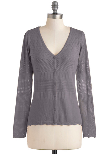 Sunny Side Wake Up Cardigan in Grey - Grey, Solid, Buttons, Work, Casual, Long Sleeve, Mid-length, Fall, Variation, Travel