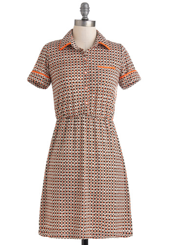 Game for Anything Dress by Louche - Mid-length, Multi, Orange, Blue, White, Print, Casual, Shirt Dress, Short Sleeves, Collared, Vintage Inspired, 60s, International Designer