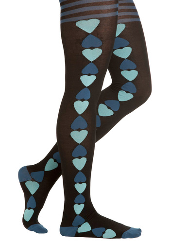 Heart to Forget Tights - Black, Blue, Print