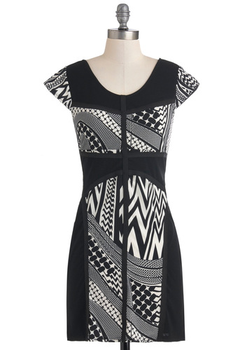 All Through the Night Dress - Black, White, Print, Sheath / Shift, Cap Sleeves, Short, Party, Girls Night Out