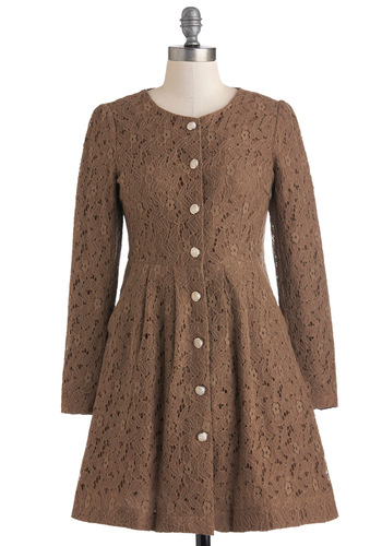 Hot Cocoa Cafe Coat - Brown, Solid, Buttons, Lace, Pockets, Long Sleeve, Long, 1, Party, Vintage Inspired, Fall