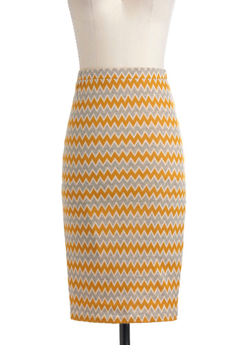 Colored Pencil Sketch Skirt - Multi, Yellow, Grey, Pencil, Long, Work, Casual, Boho, 60s