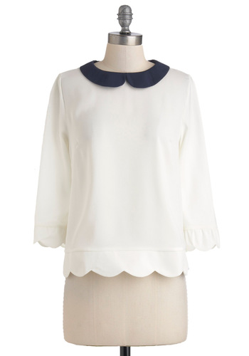 Dream Home Top in White - Cream, Blue, Peter Pan Collar, Scallops, Mid-length, Work, Variation, White, Long Sleeve
