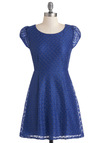 New Little Blue Dress - Blue, A-line, Cap Sleeves, Party, Short