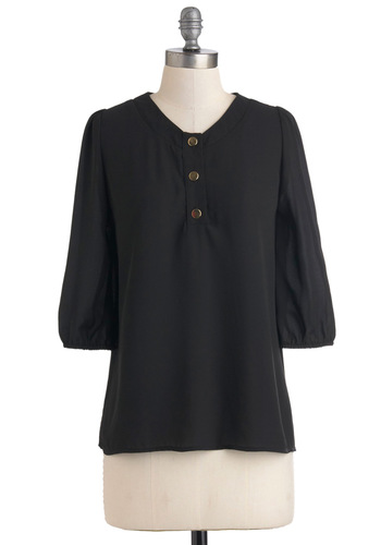 Promotion Ready Top - Black, Solid, Buttons, Sheer, Mid-length, Minimal, Top Rated