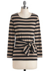 Rules of Ardor Top by People Tree - Cotton, Tan / Cream, Black, Stripes, Casual, Long Sleeve, Mid-length, International Designer