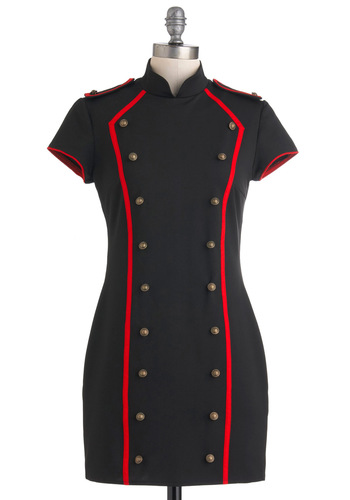 Cocktails at the Contemporary Dress - Short, Black, Red, Solid, Buttons, Trim, Sheath / Shift, Military, Short Sleeves, Party, Casual, 60s