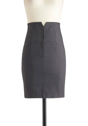 Never Too Slate Skirt - Mid-length, Grey, Solid, Work, Pencil, Pockets, Vintage Inspired, Pinup