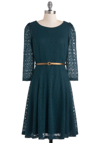 Pointelle Me All About It Dress - Mid-length, Green, Belted, Casual, A-line, Long Sleeve, Vintage Inspired, Fall, Winter, Lace, Solid, Work