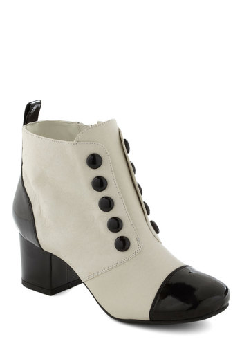 Always Enunciate Bootie by BC Shoes - Leather, White, Black, Buttons, Mod, Chunky heel, Vintage Inspired, 30s