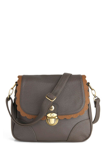 Spiced Cookies Bag by Darling - Faux Leather, Grey, Solid, Scallops, Brown, Casual