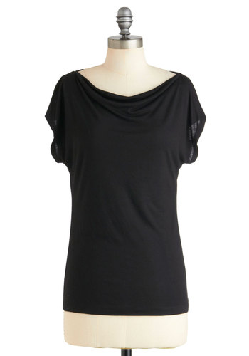 Artistic Retreat Top - Jersey, Mid-length, Black, Solid, Casual, Short Sleeves, Minimal, Variation, Short Sleeve