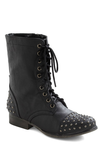 Long Way Around Boot - Black, Studs, Military, Low, Lace Up