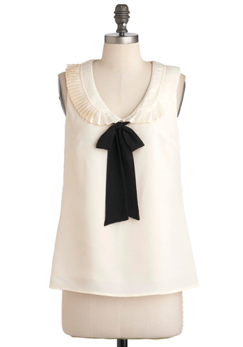 Might as Malvern Wells Top - Mid-length, White, Black, Bows, Peter Pan Collar, Work, Sleeveless, Party, Vintage Inspired, Summer, White, Sleeveless, Good