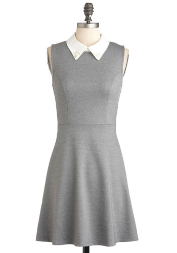 Tennis Bracelet Pro Dress - Grey, White, Solid, Casual, A-line, Sleeveless, Mid-length, Work