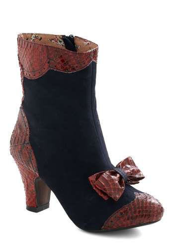 Work Up the Verve Bootie by Miss L Fire - Mid, Leather, Blue, Red, Animal Print, Bows, Vintage Inspired, French / Victorian, Fall, International Designer
