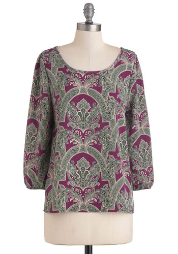 Either Ornate Top - Mid-length, Purple, Green, Tan / Cream, 3/4 Sleeve