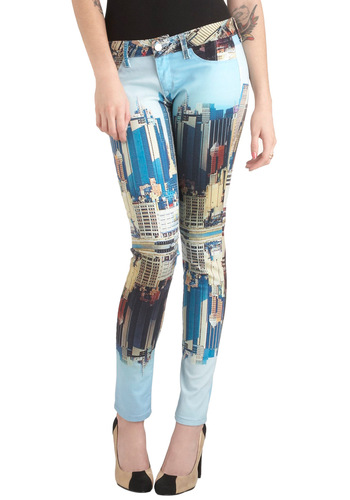 The Skyline's the Limit Jeans - Multi, Blue, Brown, Black, Pockets, Casual, Skinny, Novelty Print, Urban, Denim
