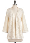 Life of the Cardi - Cream, Solid, Lace, Party, Long Sleeve, Vintage Inspired, Fairytale, Mid-length