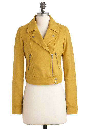 Vroom for Two Jacket in Mustard - Yellow, Solid, Pockets, Long Sleeve, 2, Menswear Inspired, Vintage Inspired, Fall, Short