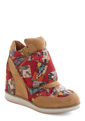 Walking Advertisement Wedge by Jeffrey Campbell - Tan, Multi, Novelty Print, High, Wedge, Leather, Suede, 90s