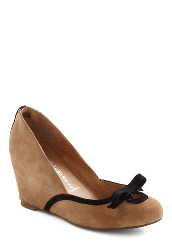 Heel to Bow Wedge by Jeffrey Campbell - Tan, Black, Bows, Mid, Wedge, Leather