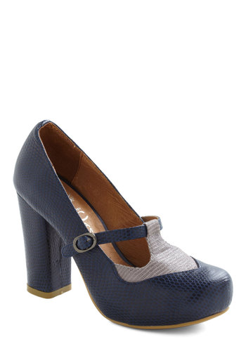 T-strap and Crumpets Heel by Jeffrey Campbell - Blue, Grey, Mid, Leather, Work, Casual, Vintage Inspired, Fall, Pinup, Best, Mary Jane, T-Strap