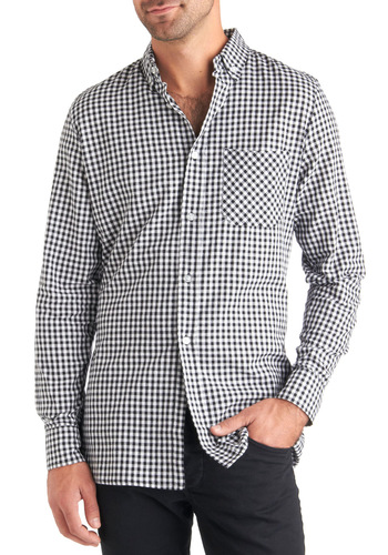 Scott's Got It Shirt - Cotton, Black, White, Checkered / Gingham, Buttons, Long Sleeve, Casual, Long