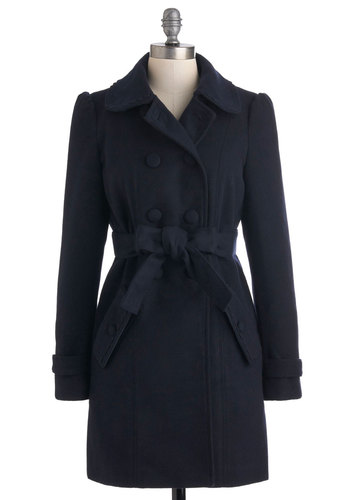 Suite Dreams Coat by Yumi - Blue, Solid, Buttons, Pockets, Casual, Long Sleeve, Long, 3, Winter