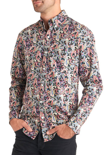 Flashy Fellow Shirt - Cotton, Mid-length, Multi, Red, Green, Blue, Black, White, Paisley, Buttons, Collared, Party, Vintage Inspired, Statement