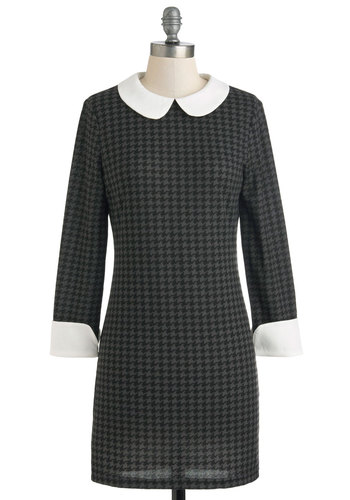 Highly Skilled Style Dress - Short, Black, Grey, White, Houndstooth, Work, Sheath / Shift, Long Sleeve, Collared, Peter Pan Collar, Vintage Inspired, Mod, Scholastic/Collegiate