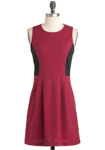 Raspberry Cordial Dress - Short, Red, Black, Solid, Casual, A-line, Sleeveless