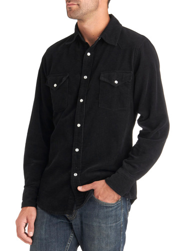 Strike a Cord Shirt - Cotton, Black, Solid, Buttons, Casual, Long Sleeve, Long