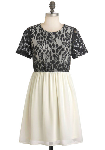 Ivory Lacy Thing is Magic Dress - Short, Black, White, Lace, A-line, Short Sleeves, Party, Film Noir, Vintage Inspired
