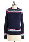 The Fireplace  to Be Sweater by Louche - Blue, Green, Pink, Argyle, Casual, Long Sleeve, Winter, Mid-length, Knitted, International Designer