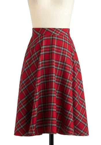 Illustrative Style Skirt - Red, Black, White, Plaid, A-line, Long, Holiday Party, Fall, 90s