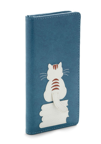 Puss 'n' Books Wallet - Faux Leather, Blue, White, Print with Animals, Brown