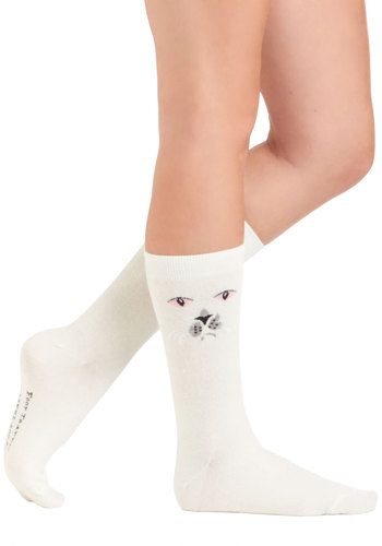 Purr and Simple Socks - Print with Animals, White, Pink, Black, Knitted